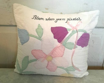Vintage Quilt Flower Pillow Vintage Quilt Pillow with Quote