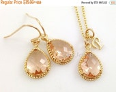 35% OFF Champagne Gold Jewelry Set - Gold Trim Peach Pink Teardrop Bridesmaids Necklace Earrings Personalized Initial Letter Alphabet Neckla