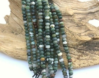 Mix Fancy Jasper & Moss Agate LARGE HOLE beads - 5mm x 8mm Rondelle Bead - 8 inch strand - 2.5mm Hole