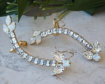 Ear Climber earrings. Ear crawler earrings. Opal rhinestone earrings. Bridal ear sweep. Climbing Crystal swarovski earrings. Long ear cuff