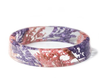 Bracelet -Flower Jewelry- Real Flower Bangle- Real Flower Resin Jewelry - Jewelry made with Flowers- Purple Flower Bracelet
