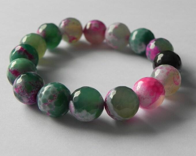 Green and fuchsia fire agate stretch gemstone bracelet.