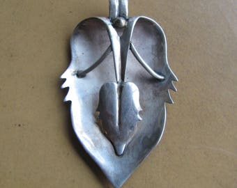 Art Nouveau Pendant, Sterling Leaf Design,  Hand Crafted Silver Jewelry