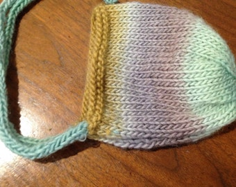 Newborn Bonnet- Ombre mustard yellow, gray, and teal