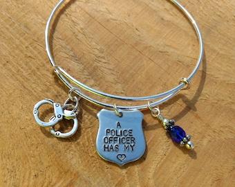 Personalized Police Officer Adjustable Bangle Bracelet