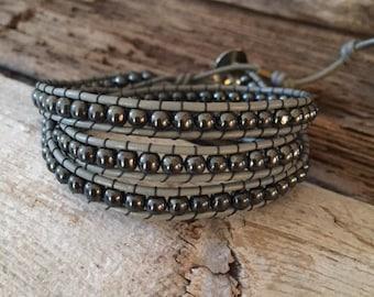 Leather 3 three Wrap Hematite Bead Bracelet