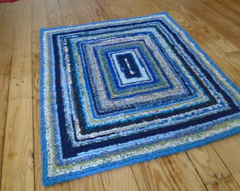 Hues of Blue  31 X 27 1/2  Locker Hooked Square Rug