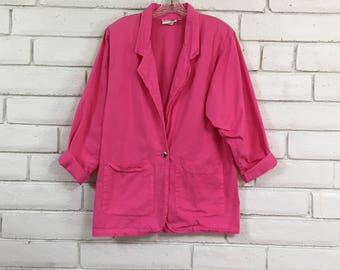 80's OVERSIZED PINK BLAZER vintage shoulder pads slouchy jacket new wave punk hot pink S