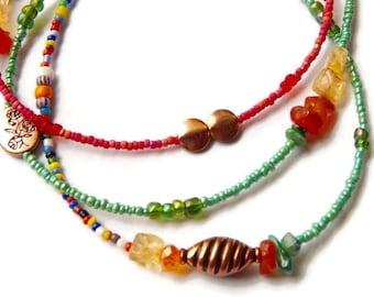 Gemstone Waist Beads, Oshun Waist Beads With Carnelian, Copper and Brass Beads, Orisha Waist Beads, Goddess Beads,  African accessories,