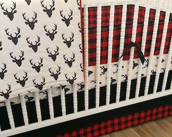 Boy Crib Bedding, Buffalo Plaid Baby Bedding, Deer Crib Bedding, READY TO SHIP, Boy Crib Bedding- Baby Bedding- Plaid Bedding- Deer Bedding