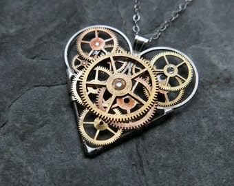 "Gear Heart Necklace ""Judt"" Elegant Steampunk Heart Pendant Industrial Organic Mechanical Love Gift Wife Girlfriend Valentine's Day"