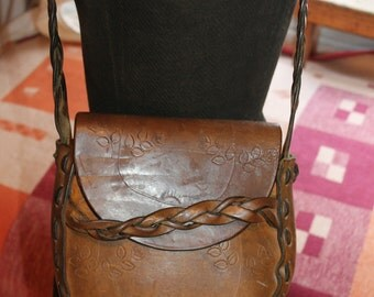 Vintage thick tooled  Leather Hippie / Boho shoulder bag Womens