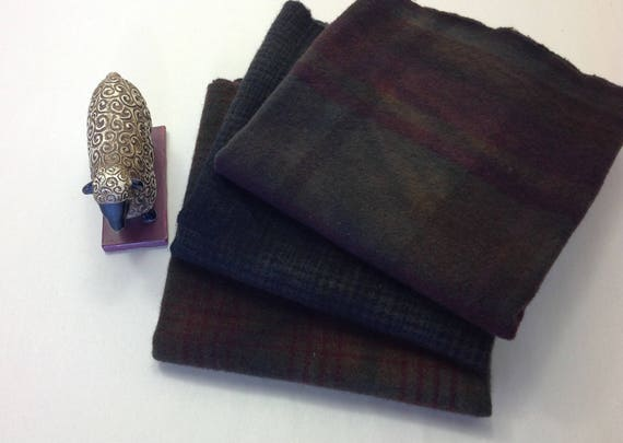 3) fat quarters, Hand Dyed Wool Fabric, Deep Brown Plaids, W336 Antique Browns, Dark Brown Wool Textures