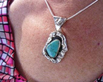 R126--Kingman Turquoise Silver Nuggett Pendant
