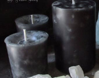 Unscented Black Pillar and Votive Candles