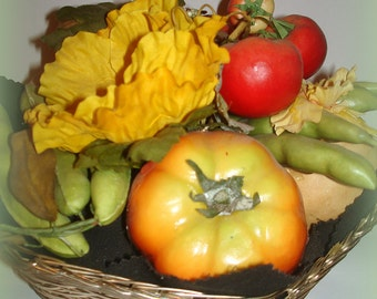 Vegetable Basket Centerpiece Hand Crafted Kitchen Arrangement Woven Silver Basket with faux Tomatoes Beans Cucumber Potato Mushroom Pepper