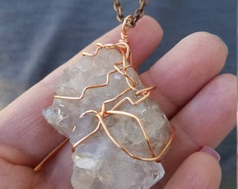 Huge Quartz Wire Wrap Pendant