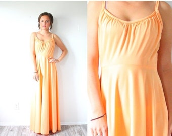 30% OFF VALENTINES SALE Vintage cantaloupe orange maxi dress // floor length formal dress // prom dress // ball gown // party dress / summer