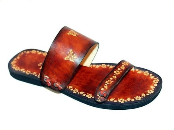 Women Sandals, Handmade Leather Slides, Boho Hippie Sandals, Butterfy Flowers Sandals, Hand Painted - PARADISE