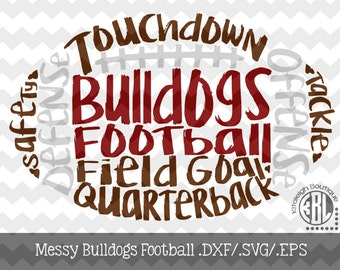 Messy Bulldogs Football design INSTANT DOWNLOAD in dxf/svg/eps for use with programs such as Silhouette Studio and Cricut Design Space