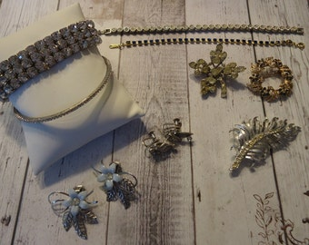 9 Pc Lot of Vintage Rhinestone Jewelry for Repurpose and/or Wear, Vintage Bracelets, Earrings, Brooches