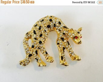 WINTER SALE Vintage Signed Gold Tone Rhinestone Cheetah Brooch Pin