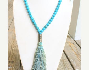 MASSIVE CLEARANCE Vintage African Glass Blue Trade Bead Necklace with Fabric Tassel and Brass Accents
