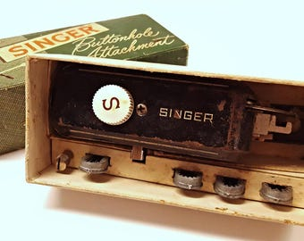 Vintage Singer Sewing Machine Buttonhole/Button Hole Attachment with Original Box