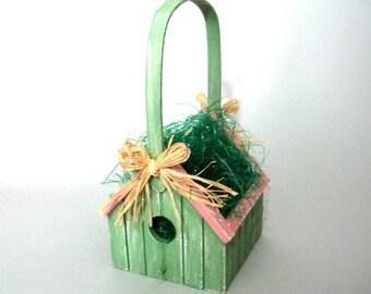 Basket, Spring Basket,Vintage Basket, Bird House Basket