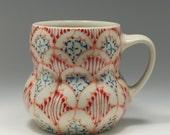 Handmade Wheel Thrown Ceramic Mug with Melon, Red and Navy Pattern