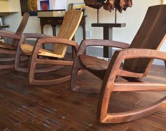 Cascade rocking chair in walnut and white oak.