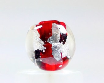 Lampworked transparent red glass and pure silver glass focal bead