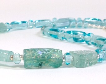 Ancient Roman glass and modern lampworked bead necklace