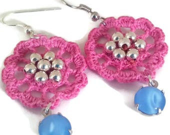 Crochet Earrings, Vintage Blue Moonstone Earrings, Crochet Motif Earrings, Pink Crochet Earrings, Thread Earrings, Beaded Earrings