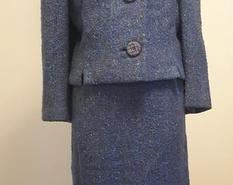 All Season Vintage 1960s Suit. Blue Violet Tweed. Jacket and Skirt. Small to Med