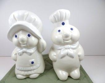 Vintage Pillsbury Doughboy and Girl Salt & Pepper Shaker Set - Pillsbury Doughboy Boy and Girl - Pillsbury Doughboy - Pillsbury - Doughboy