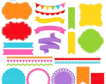 Rainbow Borders, Banners & Frames Clipart Set - labels, bunting, borders clip art set - personal use, small commercial use, instant download