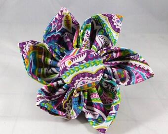 Dog Flower, Dog Bow Tie, Cat Flower, Cat Bow Tie - Purple Paisley
