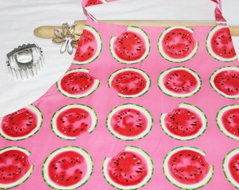 Plus Size Pink and Red Watermelon Slices Apron