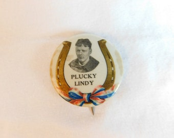 Very Rare 1920's Charles Lindbergh Plucky Lindy Pin Pinback Button DR29