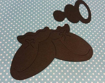 Baby Booties or Pacifier Die Cut 10 CT- Die Cut- Cutout- Baby Shower- Custom Colors Available