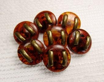 "Brass Embellished: 3/4"" (19mm) Imitation Tortoise Shell Buttons - Set of 7 Vintage Buttons"
