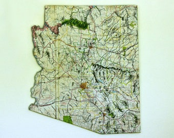ARIZONA State Map Wall Decor | Vintage Map Decor | Perfect Gift for Any Occasion | Gallery Wall Decor | Medium Size