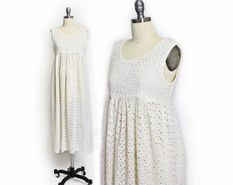 Vintage 1960s Dress - Ivory Eyelet Lace Sheer Empire Waist Boho Maxi Dress 60s - Medium M