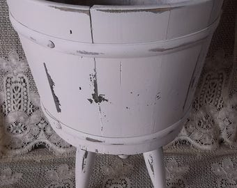 Vintage Farmhouse decor, Wood Barrel storage container, Shabby cottage white, Wood planter