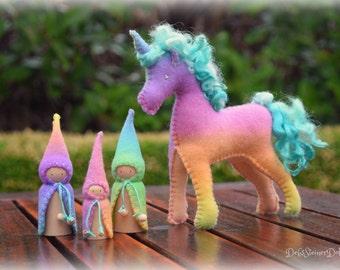Waldorf Steiner inspired Felt Unicorn toy plus 3 felt gnomes- hand dyed wool felt-creative play doll set-READY TO SHIP by Debs Steiner Dolls