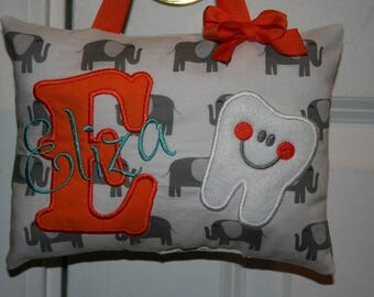 Tooth Fairy Pillow for Girls Personalized - Elephants - Custom Made - Boutique