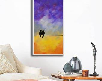 Abstract Birds Giclee, Birds print, colorful print, art print, purple yellow picture, love birds print, print on canvas, purple canvas