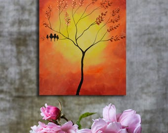 Red orange sunset painting, birds on tree, family of birds, abstract tree painting, tree of life, family tree, mothers day family tree