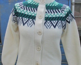 Vintage Cream and White Fairisle Cardigan - Small